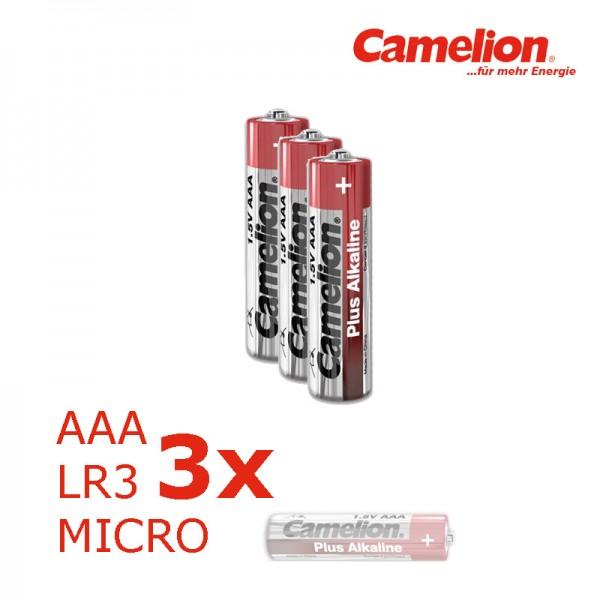 Batterie Mignon AAA LR3 1,5V PLUS Alkaline - Leistung auf Dauer - 3 Stück - CAMELION