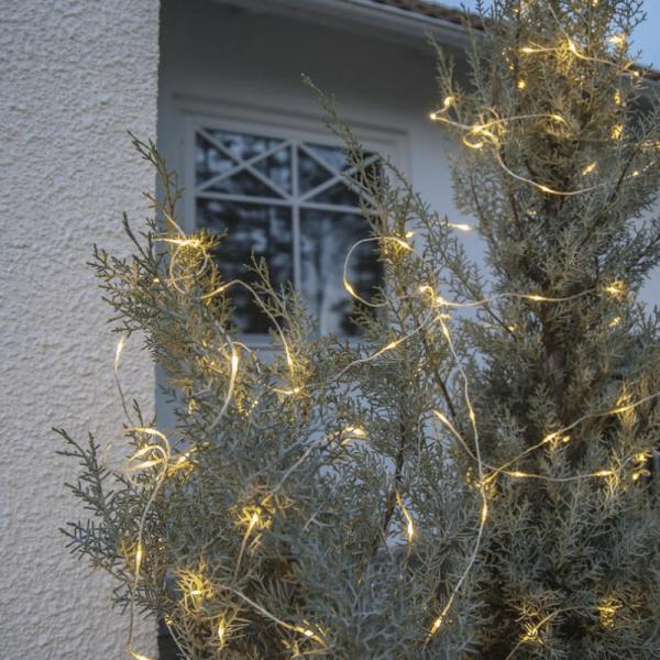 "LED-Draht-Lichterkette ""Dew Drop Outdoor"" - silber - 100 warmweiße LEDs - 10m - IP44"