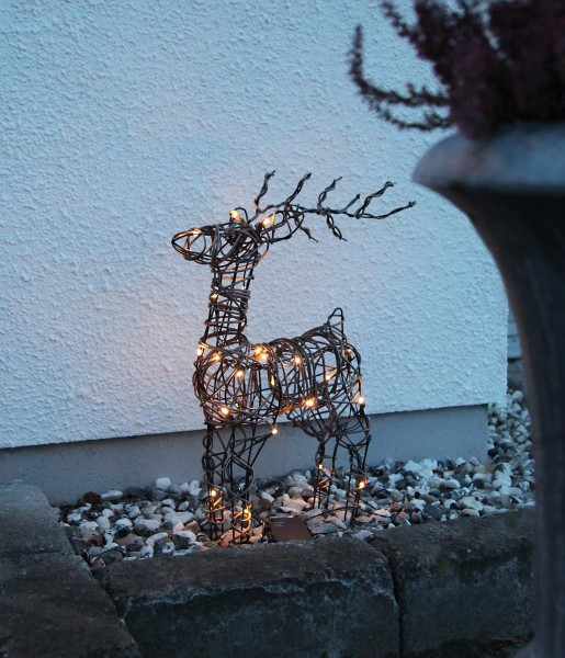 LED-Rattan Rentier - 23 warmweiße LEDs - H: 55cm - Material: Metall/ Kunststoff - Outdoor Figur