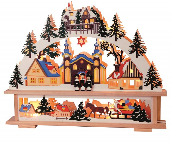 "Fensterleuchter ""Straubing"" Motiv: Kirche/Stadt, 7flammig, Material: Holz Farbe: natur/bunt, ca. 35 x 45 cm Vierfarb-Karton"