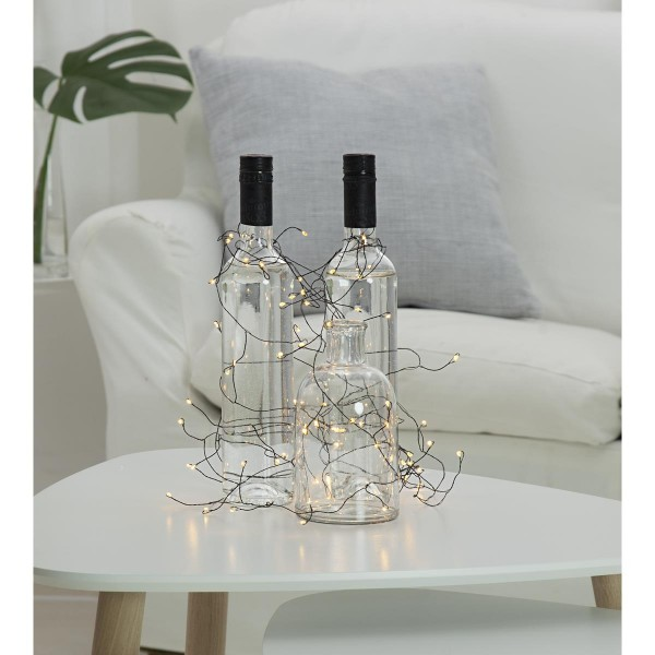 "LED-Drahtlichterkette ""Dew Drops"", schwarzer Draht - 160 warmweiße LEDs - 9,5m - inkl. Trafo"