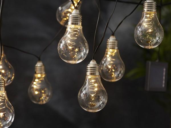 Lichterkette - LED - Solar - Outdoor - 1,90m - 10 x Warmweiß - Lichtsensor - Dämmerungssensor Glühbirnen retro
