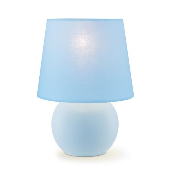 Tischleuchte ISLA pastellblauer Schirm - 22cm - Kugelfuß - E14 - Schirmlampe