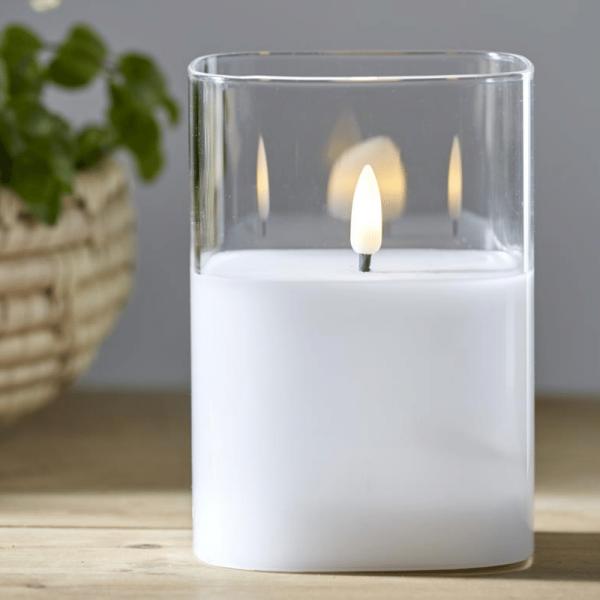 """LED Windlicht """"Flamme"""" - Echtwachs - bewegte, gelbe Flamme - Timer - H: 12,5cm - transparentes Glas"""