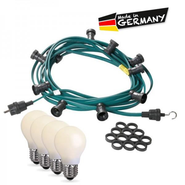 Illu-/Partylichterkette 5m | Außenlichterkette | Made in Germany | 10 x bruchfeste, opale LED Lampen