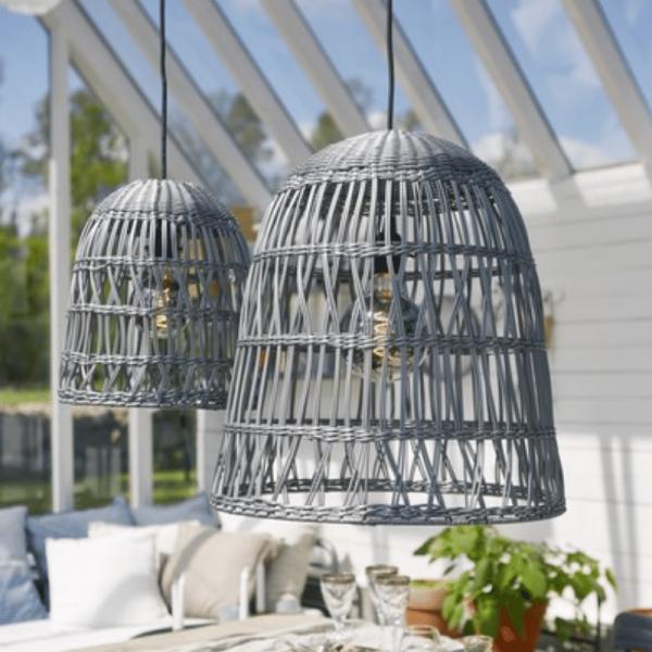 Lampenschirm KNUTE wetterfest - für E27 Fassungen - grau - D: 30cm - H: 33cm