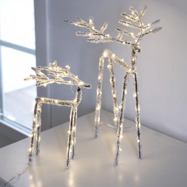 "LED Acryl Design-Rentier ""Icy Deer"" - 30 warmweiße LED - H: 20cm - Timer - Batteriebetrieben"