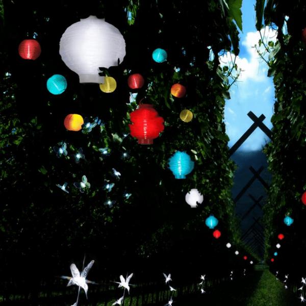 """LED Lichterkette """"Festival"""" - kaltweiß - 10 weiße Lampions - Solar - L: 2,70m"""