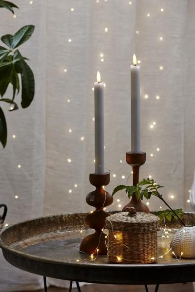"LED Stabkerze ""Flamme"" - Echtwachs - warmweiße LED - H: 25cm - Timer - weiß - 2er Set"