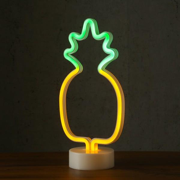 LED Neonlampe ANANAS - Silhouette Dekoleuchte - Batteriebetrieb - H: 32,5cm - stehend - gelb, grün