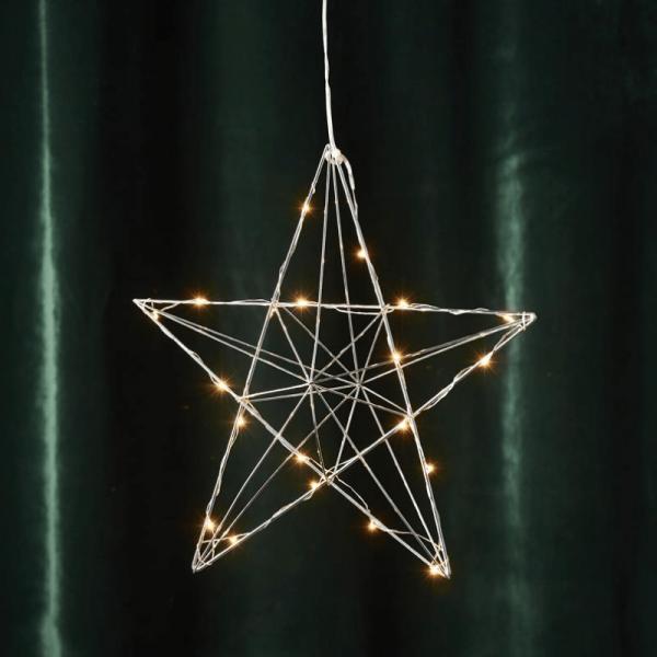 "LED-Drahtstern ""Line"" - hängend - 20 warmweiße LEDs - H: 36cm, B: 38cm - silber"
