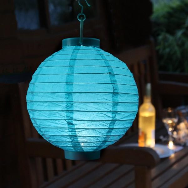 LED Lampion FESTIVAL - kaltweiße LED - D: 20cm - Montagehaken - türkis
