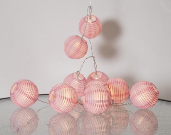"LED-Lichterkette ""Festival"" - 10 pinke Lampions mit warmweißen LEDs - 1,35m - inkl Trafo mit 3m Kabel"