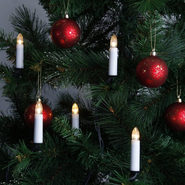 LED Kerzenlichterkette - Baumkerzen - 16 warmweiße LED - E10 Fassung - L: 10,5m - für Innen