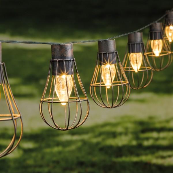 """LED Solar Gitter Lichterkette """"Industrial"""" - 10 warmweiße Lampen - schwarz/braun"""