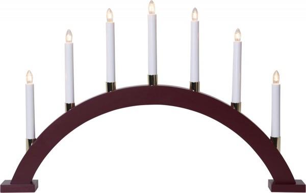Lichterbogen GILLIAN - 7 warmweiße Glühlampen - L: 63cm, H: 40cm - Holz - Schalter - Rot