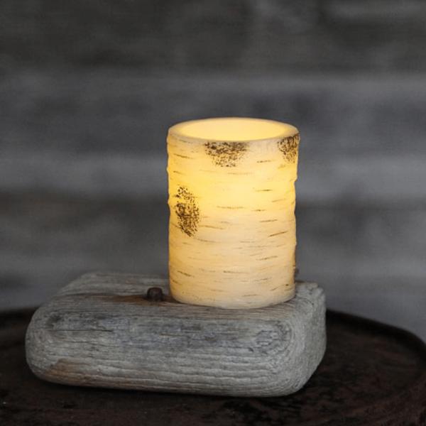 LED-Kerze | Echtwachs | Birkendesign | flackernde LED | Timer | Weiß | ↑10cm