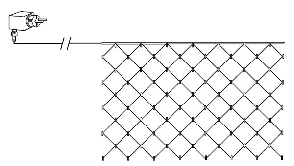 LED-Lichternetz | Serie LED | 2x1m | Schwarzes Kabel | 90 warmweiße LEDs | Trafo