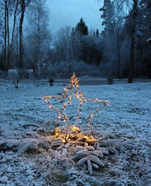 """LED-Lichterstern """"Foldy"""", ca. 60 x 55 cm, 90 warmwhite LED , schwarz, mit Trafo, Kabel: 3m, outdoor, Vierfarb-Karton"""