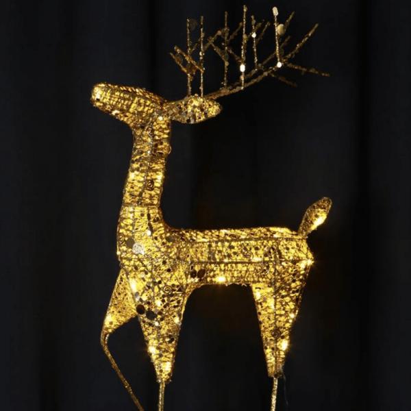 "LED-Rentier mit Pailletten ""Sequini"" - 40 warmweiße LED - goldene Pailletten - H: 68cm - outdoor"