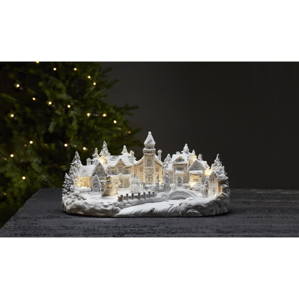 "LED-Leuchthaus ""Largeville"" - Motiv: Winterdorf - weiss - 11 warmweiße LEDs - ↑21cm"