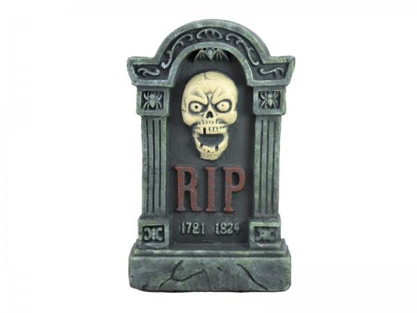 Grabstein mit Schädel, 56cm große Halloween Dekoration (56x34x9,5cm) - Gruseldeko