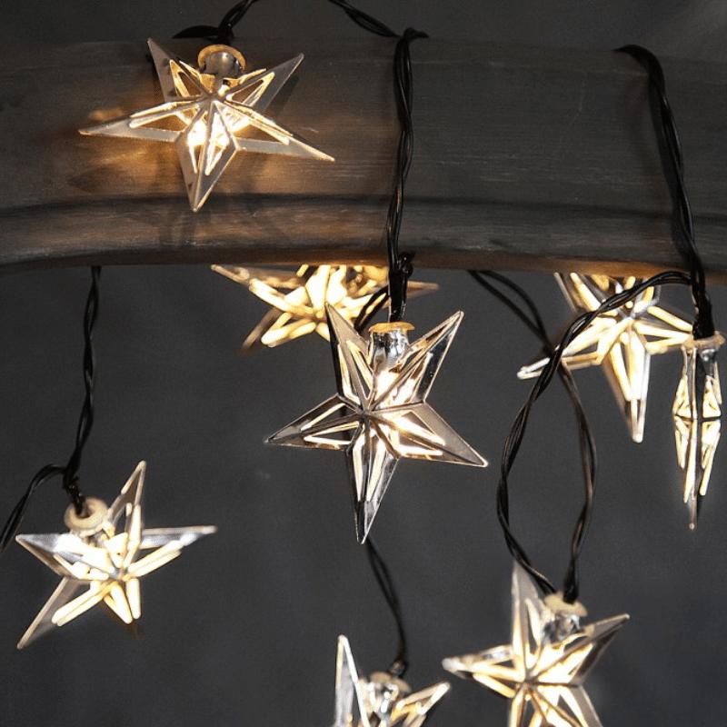 Girlande Stern aus Glas in silber lackiert Länge 50 cm