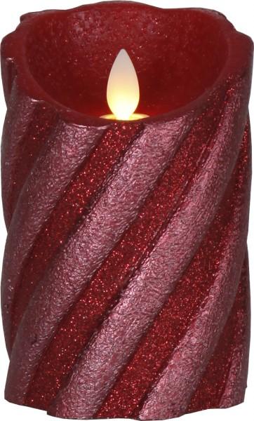 "LED-Wachskerze ""Glim"", tief-rot - warmweiße LED - H:13cm D:8cm - Timer"