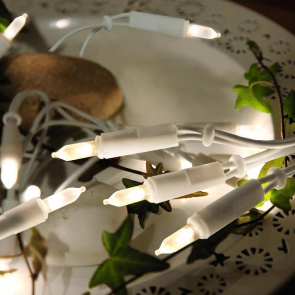 LED-Weihnachts-Lichterkette | P-LED INDOOR | Weißes Kabel | 2.85m | 20x LED | warmweiß