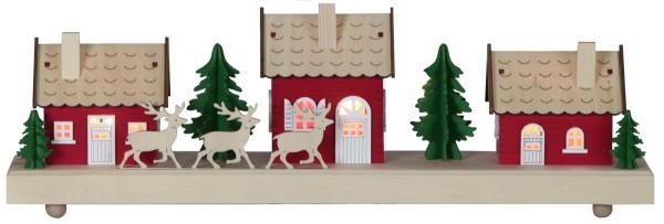 "LED-Leuchthäuser ""Hedemora"" 3 warmwhite LED, Material: Holz Farbe: natur/bunt, ca. 15 cm x 44 cm, Timer, Batterie, Vierfarb-Karton"