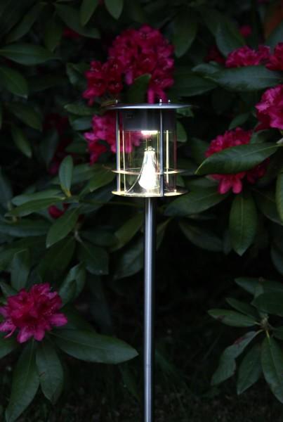 "LED-Solar-Wegleuchte ""Valencia"" - edelstahl - warmweiße LED - H: 65cm - D: 15cm - Dämmerungssensor"