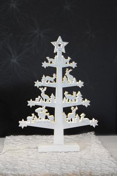 """LED-Fensterleuchter """"Fauna"""" - Baum mit Tieren - 11 warmweiße LED - H: 47cm - Holz - weiß"""