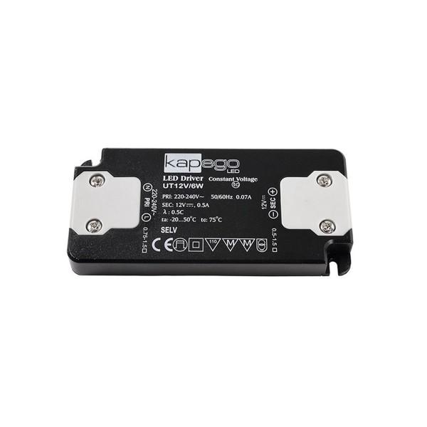 Kapego Netzgerät flach - 12V 6W 0,5A - schwarz - kurzschluss- überlastfest - 98x46x11mm