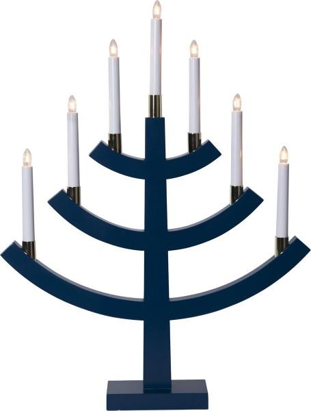 """Kerzenleuchter """"Gillian"""" - 7 Arme - warmweiße Glühlampen - H: 64cm, L: 49cm - Schalter - Blau/Gold"""
