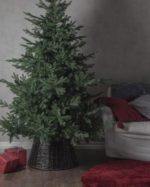 Weidenkorb für Baumständer - dunkelbraun - D(u): 59cm - D(o): 43cm - H: 29cm