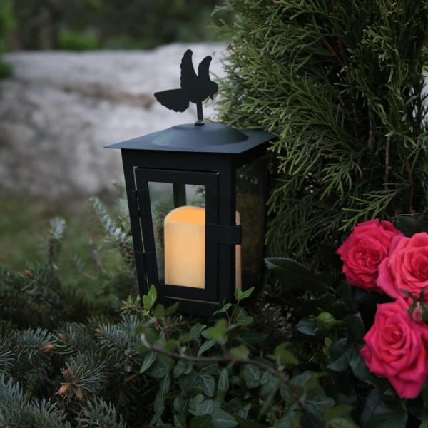 """LED Grablaterne/Grablicht """"Serene"""" mit Stab & Taube - gelbe LED - H: 40cm - Timer - schwarz"""