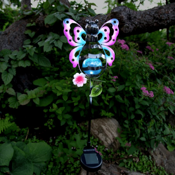 "LED Solarstab ""Schmetterling""- bunt - weiße LED in Glaskugel - H: 85cm - Dämmerungssensor"