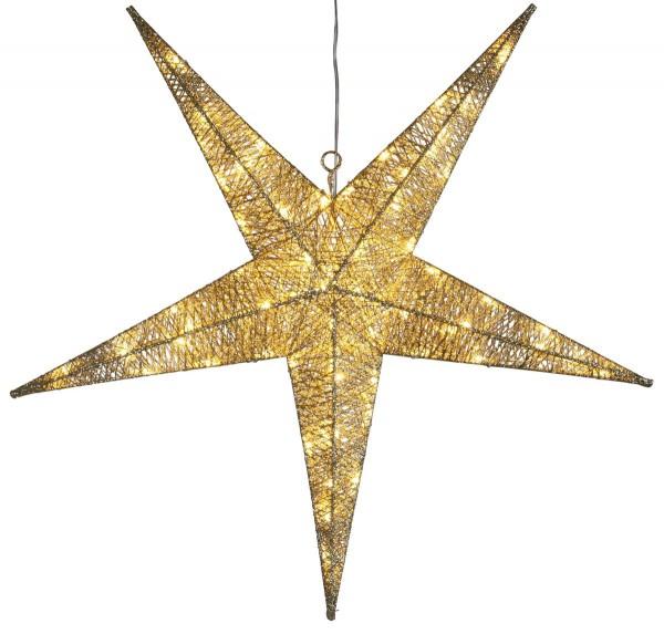 "LED-Stern ""Sequini"" - 72 warmweiße LEDs - D: 75cm - goldene Baumwollfäden - Outdoor"