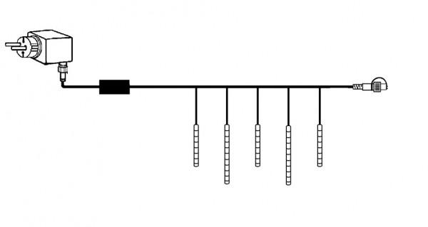 LED-Schneefall-Lichterkette - Snowmotion Line Outdoor - Komplettset für 1 Baum (20 Röhren)