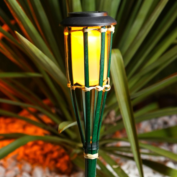 LED Solar Gartenfackel - Bambus - simulierter Flammeneffekt - H: 54cm - grün