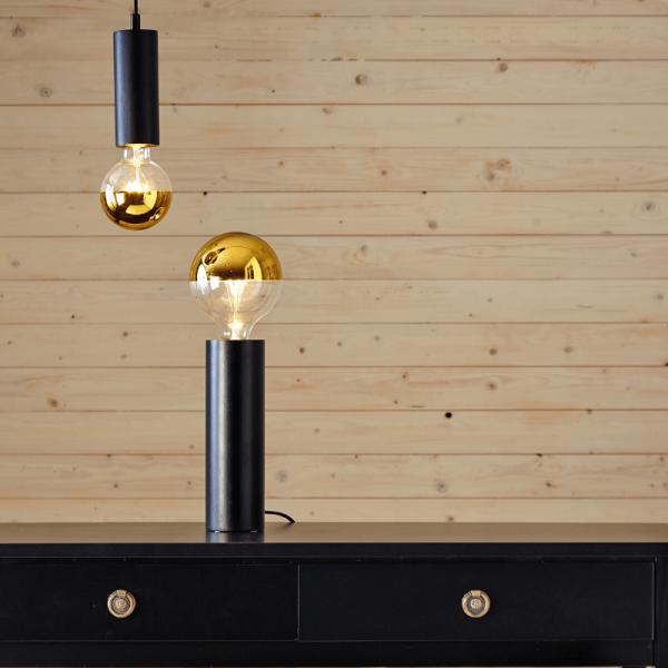 """Lampenfassung """"Tub"""" - E27 Fassung - Schalter - H: 25cm - stehend - schwarz"""