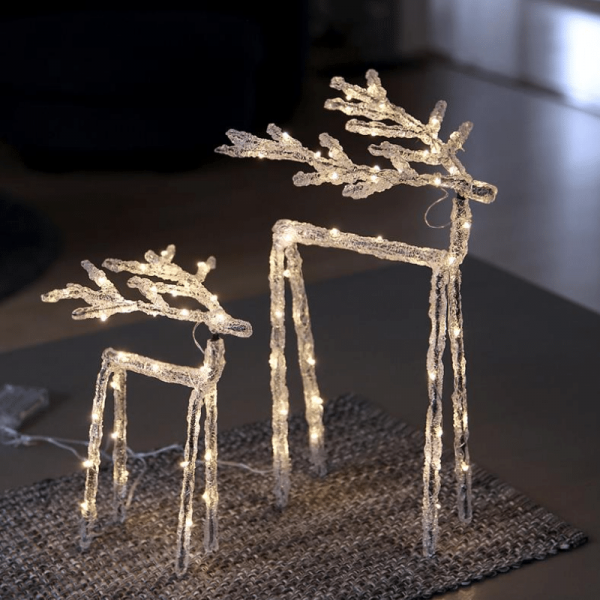 "LED Acryl Design-Rentier ""Icy Deer"" - 60 warmweiße LED - H: 40cm - inkl. Trafo - transparent"