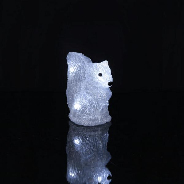 "LED-Acryl Eichhörnchen ""Crystal Squirrel"" - 5 kaltweiße LED - H: 13cm - Timer - batteriebetrieben"