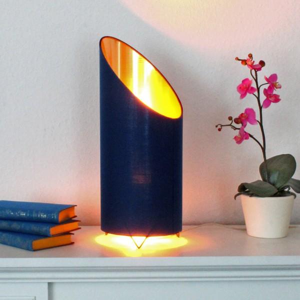 LED Flammenleuchte - Dekoleuchte - VINE royalblau/gold - realistische Fackelfunktion - H: 43cm