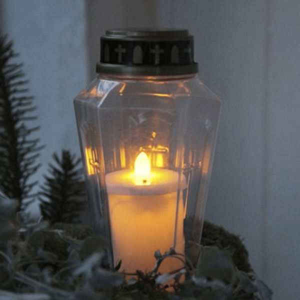 "LED Novenkerze ""Serene"" - Grabkerze - flackernde warmweiße LED - H: 15,5cm - weiß/gold"
