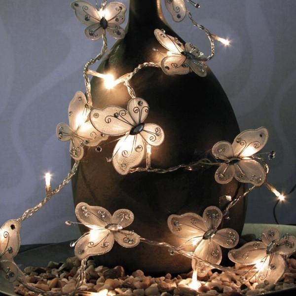 Schmetterling Lichterkette - 20 LED - 4,1m - warmweiß - mit Trafo