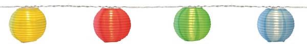 "LED-Lichterkette ""Festival"" - 10 bunte Lampions mit warmweißen LEDs - 4,5m - inkl Trafo mit 10m Kabel"