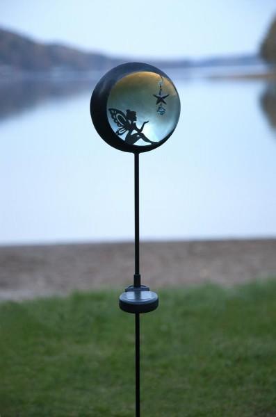 """LED-Solarstab """"Fairy""""- schwarz - blaue LED - innen beleuchtete Kugel - H: 76cm - Dämmerungssensor"""
