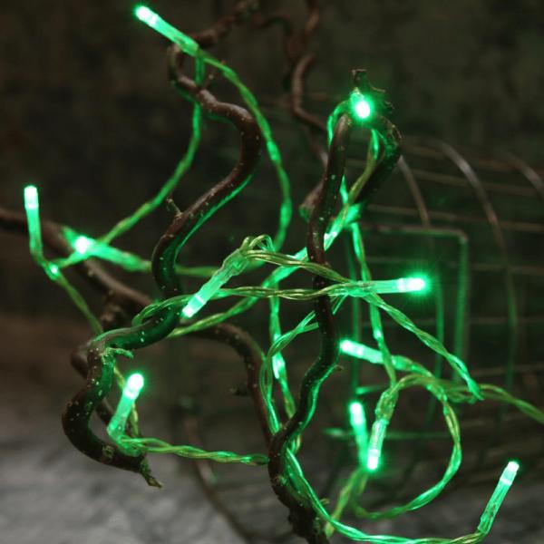 LED-Lichterkette | TRENDLITES | Indoor | Batterie | Timer | 2.10m | grünes Kabel | 15 grüne LED