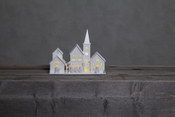 "LED-Leuchthaus ""Hamburg"" 4 warmwhite LED, Material: Holz Farbe: weiß, ca. 28 cm x 21 cm, Batterie, Vierfarb-Karton"